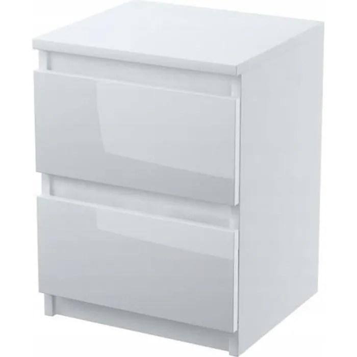 davos table de chevet contemporain chambre 40x30x30 cm 2 tiroirs design moderne robuste table d appoint blanc