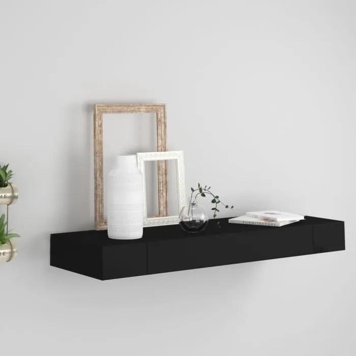 vidaxl etagere murale flottante avec tiroir noir 80x25x8 cm