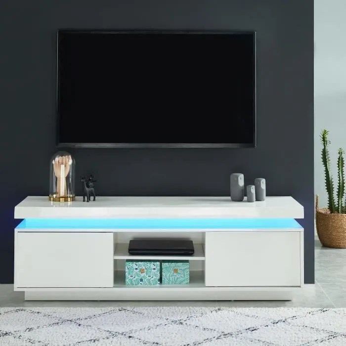 ulysse meuble tv a led blanc laque brillant l
