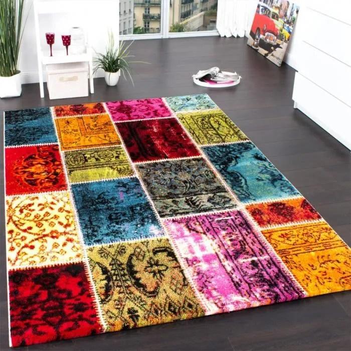 tapis moderne de marque tapis vintage patchwork multicolore vert rouge jaune bleu 160x230 cm