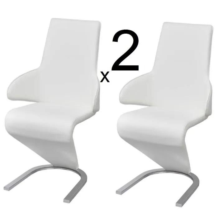 ensemble 2 chaises en simili cuir de cuisine salon salle a manger design blanc