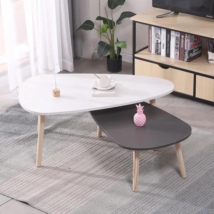 table basse ovale 2pcs scandinave blanc et gris laque 98 61 39cm 88 48 32 5cm