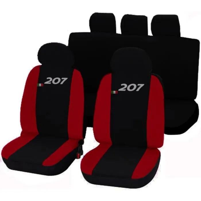 housses de siege deux colores pour peugeot 207 noir rouge