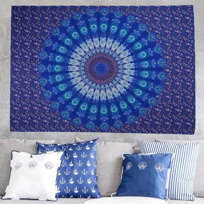 tapis rectangle mural bleu tapis