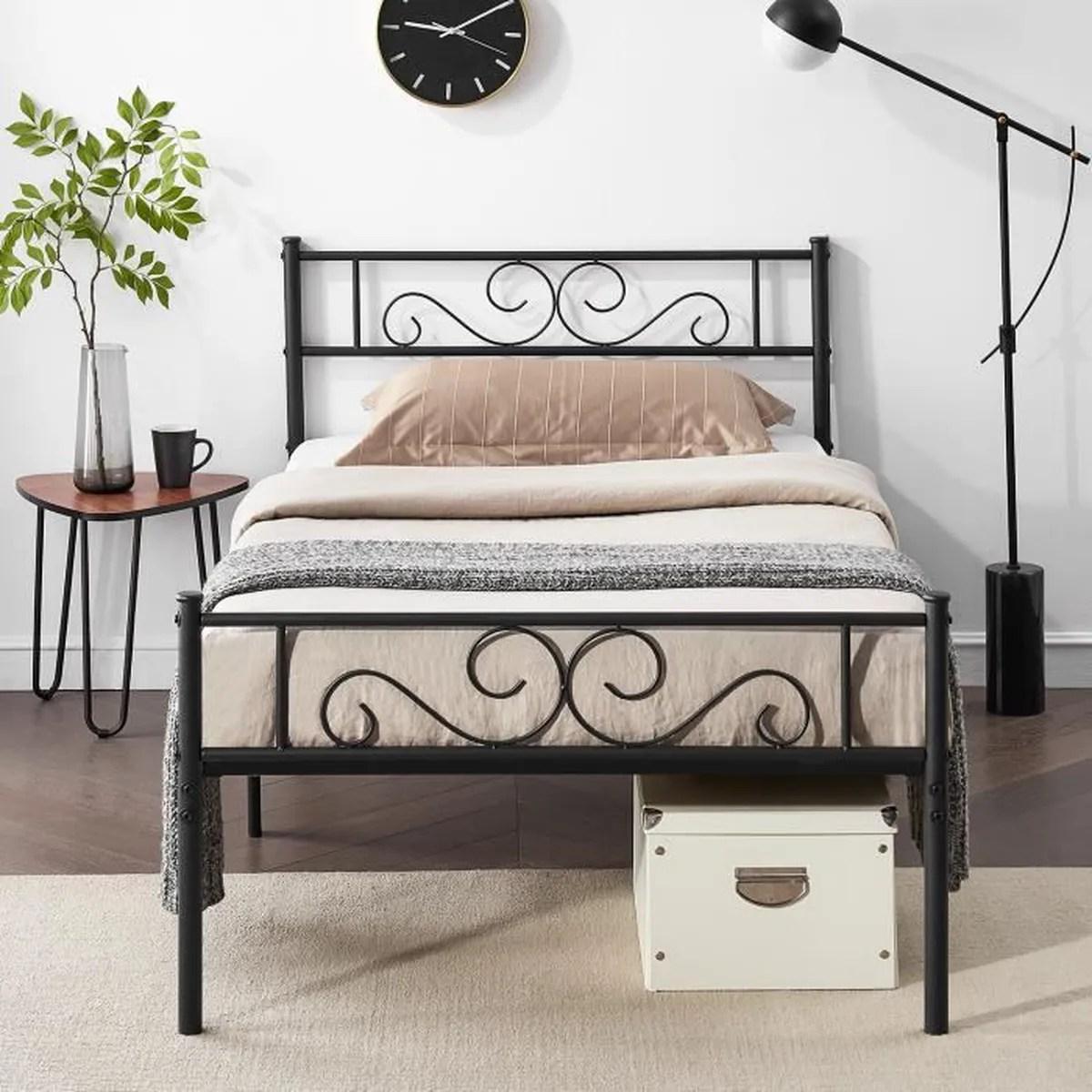 vecelo lit en metal 90 x 190 cm pour