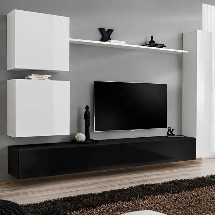 mur tv mural blanc et noir latiano blanc l 280 x p