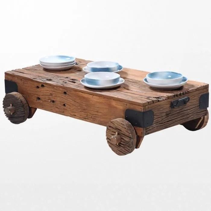 table basse en bois avec roulettes de 100 x 60 x 35 cm