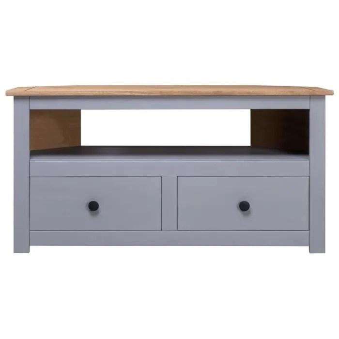 hao meuble tv d angle contemporain gris 93x55x49