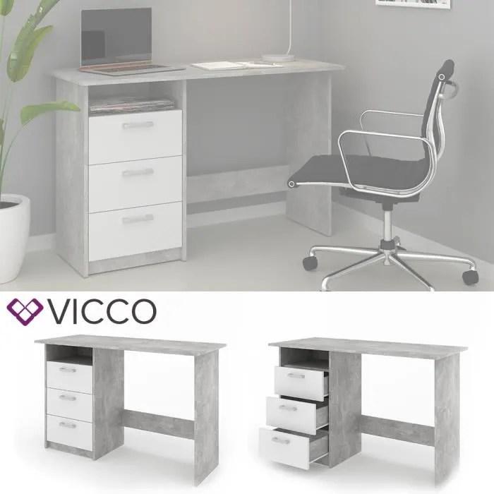 vicco bureau meiko blanc aspect beton table de travail bureau table etagere pc table