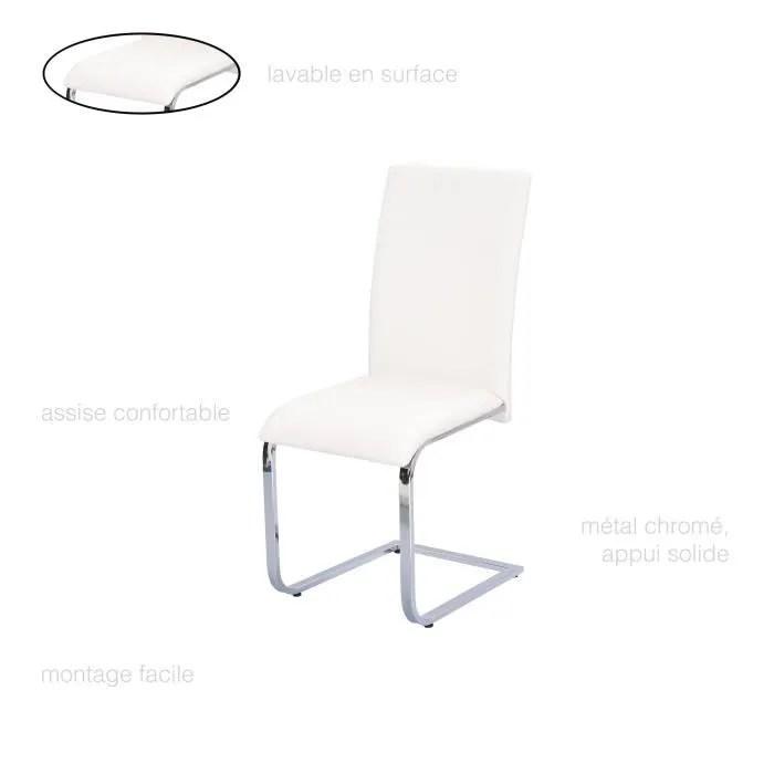 chaise salle a manger blanche simili cuir chaise design dossier haut chaise contemporaine chaise chrome salon chaise pas cher