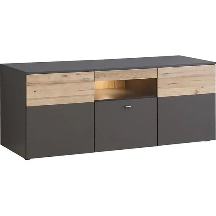 meuble tv 2 portes 150cm bicolore bois clair et g