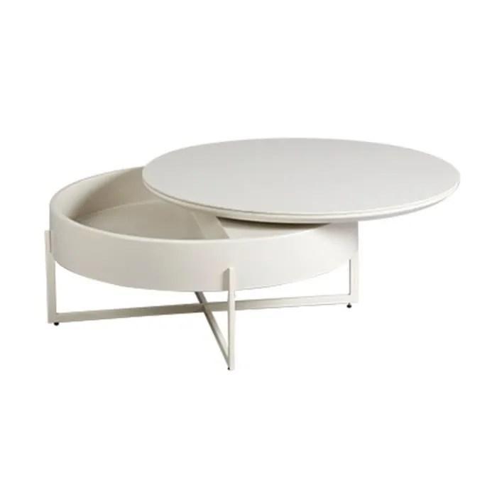 table basse ronde 85 cm avec rangements integres
