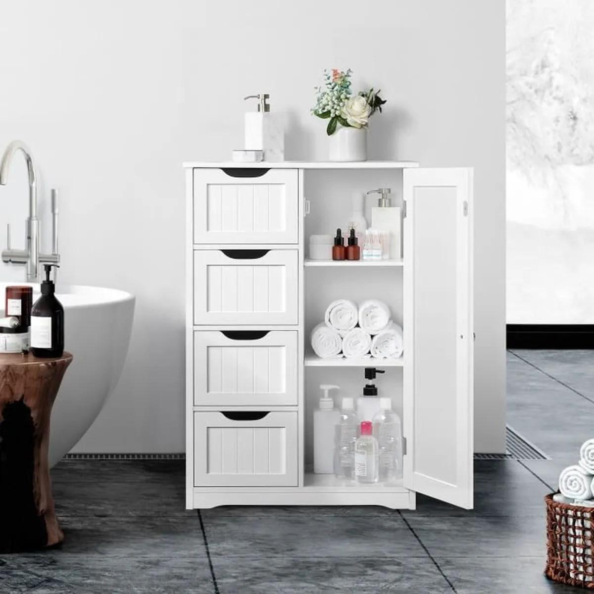 meuble colonne blanc laque