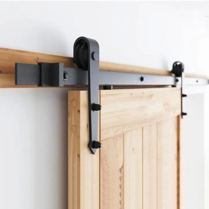 luxs 2m kit de rail pour porte coulissante pouli