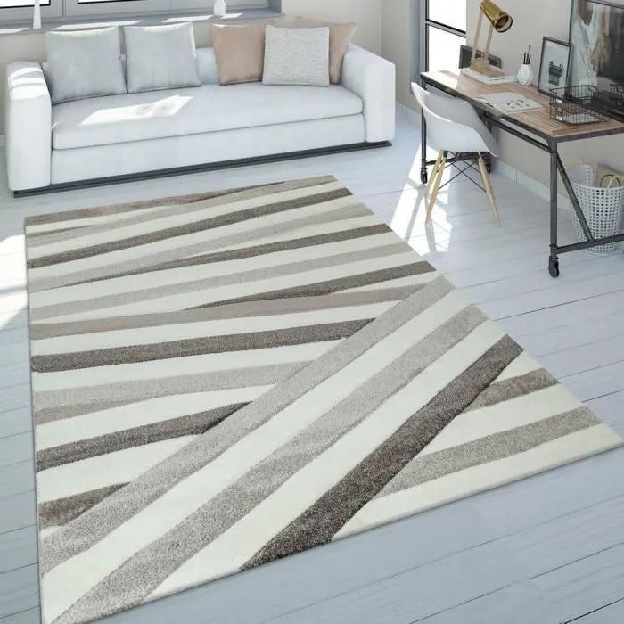 tapis de salon scandinave poils ras motif losanges