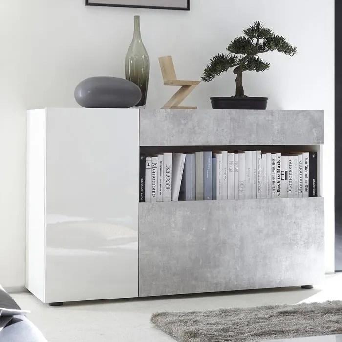 meuble d entree moderne blanc laque et gris picerno blanc l 130 x p 41 x p 82 cm