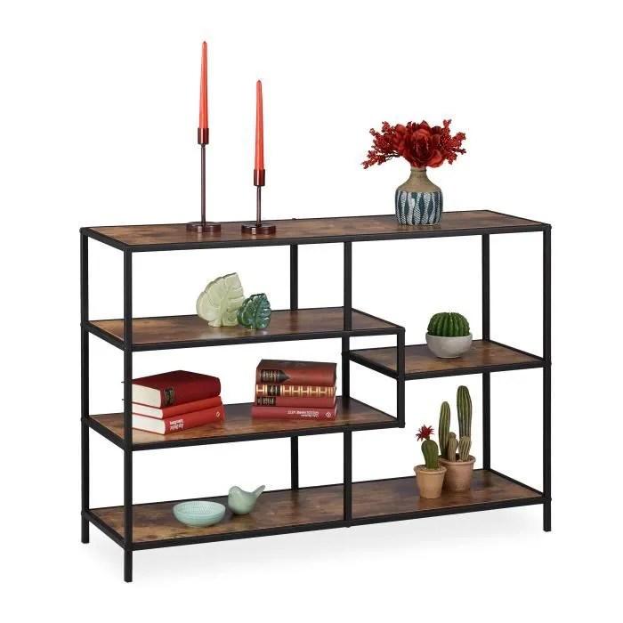 relaxdays etagere droite vintage design industriel meuble ouvert aspect bois metal differents designs marron noir