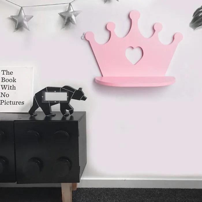 rose en bois couronne etagere murale pour princesse chambre fille filles chambre decoration meilleur cadeau pepiniere poupee jou