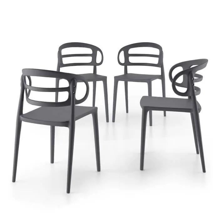 mobili fiver lot de 4 chaises de cuisine modernes carlotta gris polypropylene made in italy