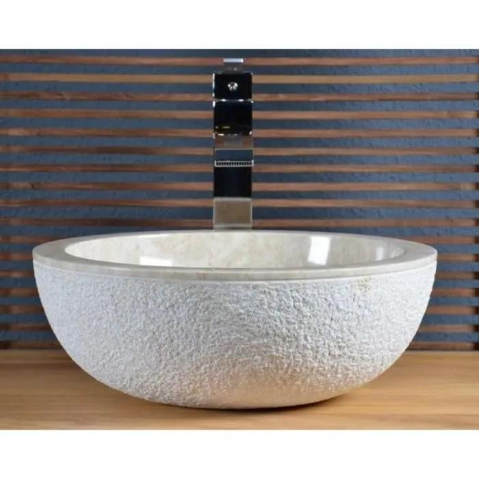 vasque a poser en marbre beige crozon