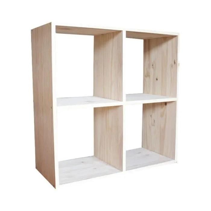 meuble de rangement kubik 4 cases en pin massif brut l 36 x p 30 x h 72 cm