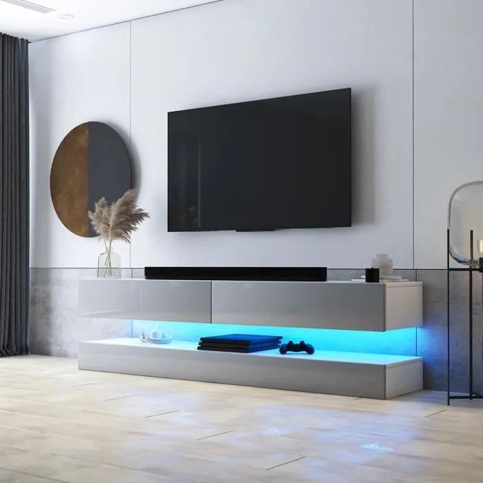 meuble tv meuble de salon hylia 140 cm blanc mat gris brillant avec led a suspendre style moderne