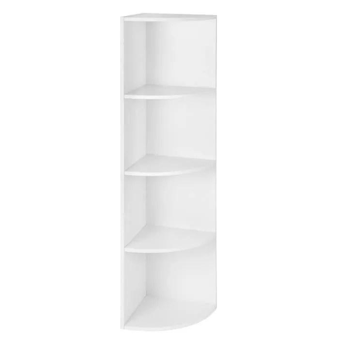vasagle etagere d angle a 4 niveaux meuble de rangement bibliotheque en bois pour salon bureau 30 x 30 x 129 5 cm lbc42wt