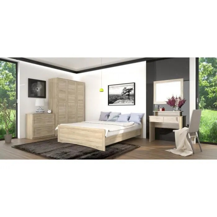 chambre complete agatha chene clair 160 200 cm lit chevets commode chambres adultes