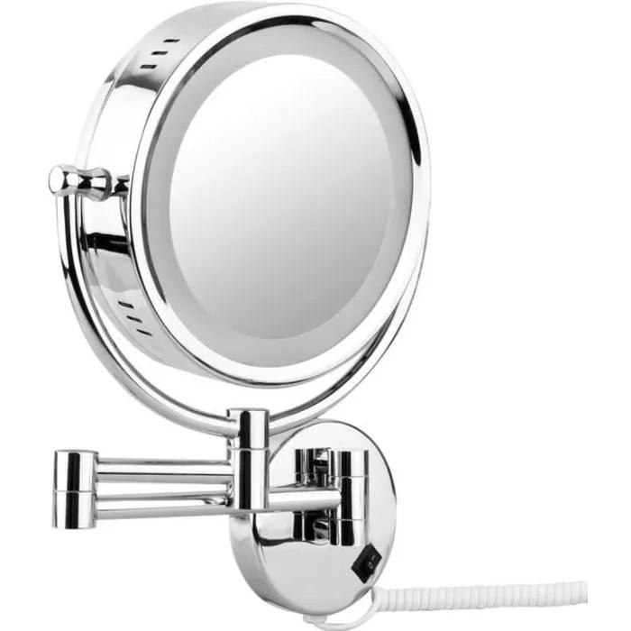 Floureon 8 5 Led Miroir Mural Grossissant X10 Lumineux Extension Pliant Dual Face Normale 360 Degres Rotation Achat Vente Miroir Salle De Bain Soldes Sur Cdiscount Des Le 20 Janvier Cdiscount
