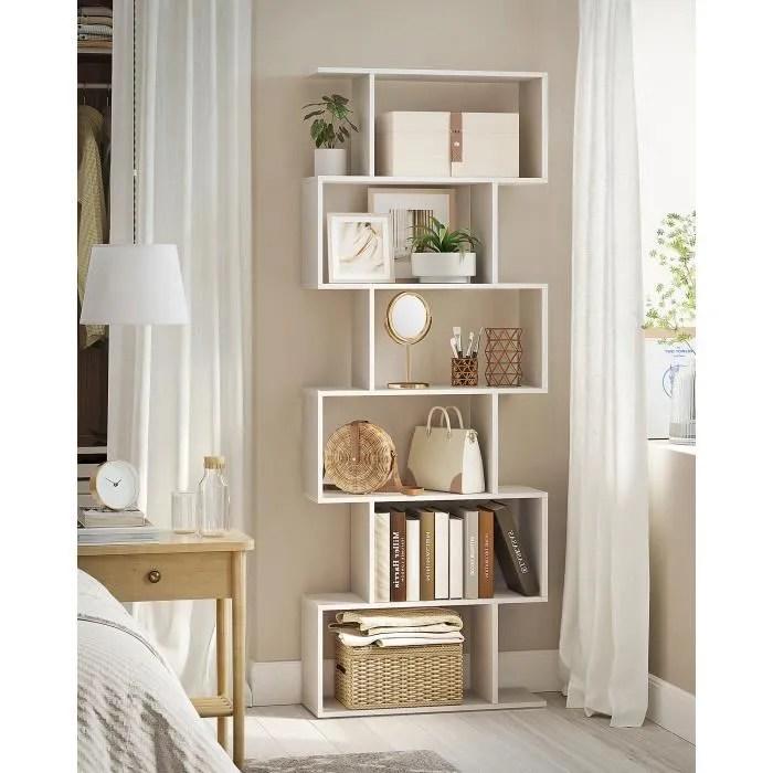 bibliotheque en bois etagere de 6 niveaux contemporaine 70 x 24 x 190 5 cm cloison meuble de rangement lbc61wt vasagle