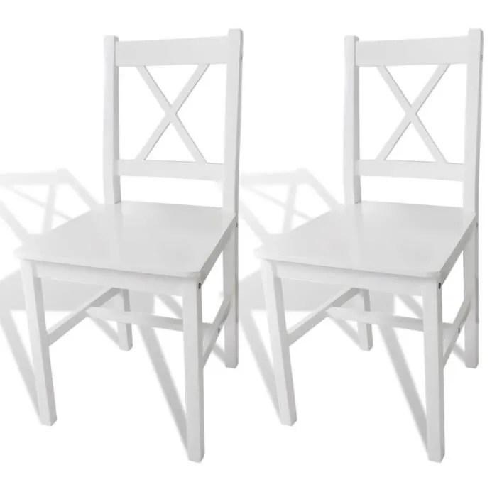 lot de 2 chaise de salle a manger 2 pcs bois blanc