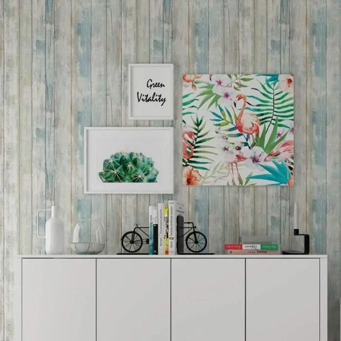 papier peint adhesif bois bleu 30cmx300cm impermeable auto collant film adhesif vinyle papier adhesif meuble mur