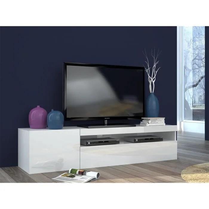 meuble tv design laque blanc 150 cm