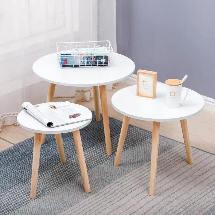 table basse de salon scandinave blanc set de 3 ag
