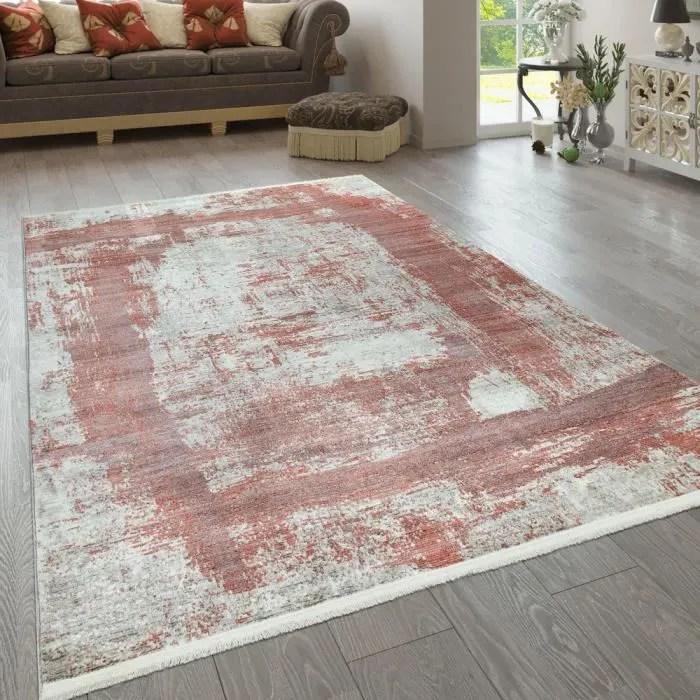 tapis a poils ras rouge beige salon abstrait desig
