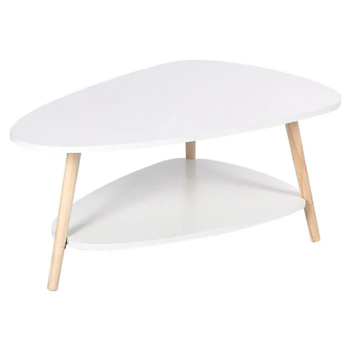 table basse 2 couches ovale pieds en