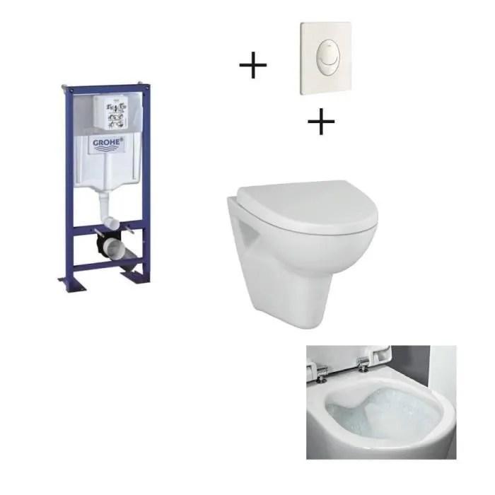 Grohe Pack Wc Suspendu Complet Avec Plaque Blanche Et Cuvette Sans Bride Velvet Achat Vente Wc Toilettes Pack Grohe Plaque Blc Cuv Cdiscount