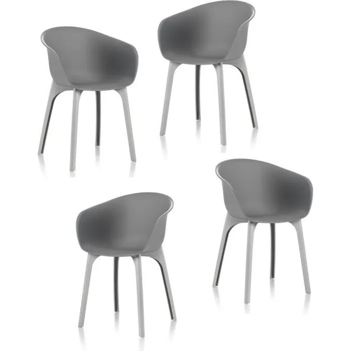 idea lot de 4 chaises de jardin diva grise