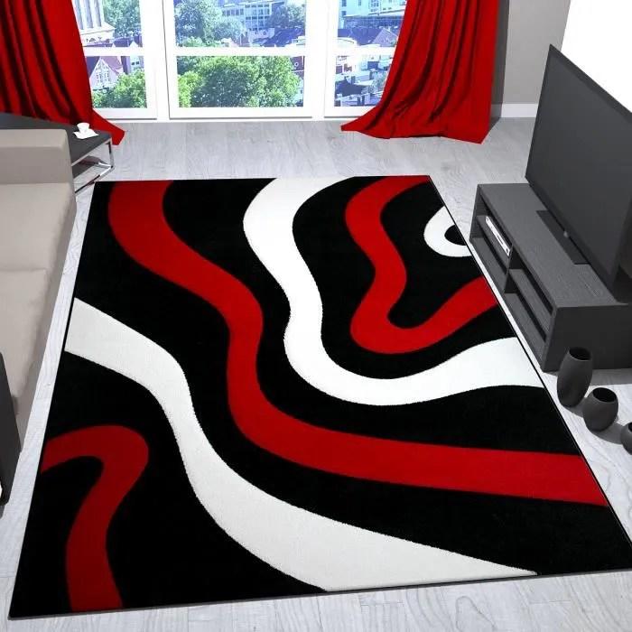 tapis de salon rouge noir et blanc avec vagues de