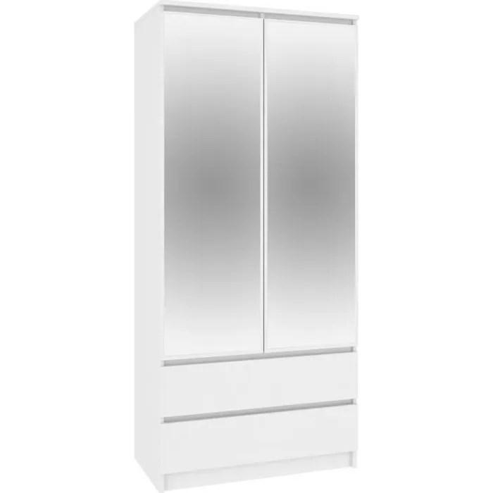 blanca armoire moderne avec miroir 2 tiroirs 180x90x51 cm barre de penderie 4 niches de rangelent dressing blanc