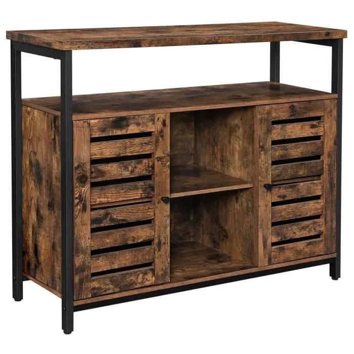 vasagle meuble de rangement 100x30x80 cm style industriel buffet placard etageres portes a persiennes marron rustique lsc79bx