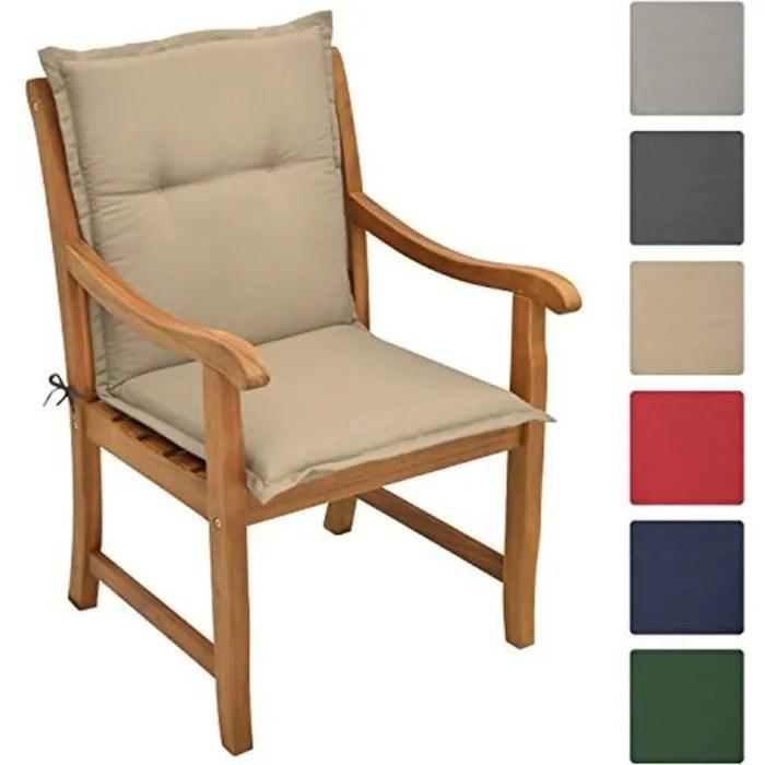 beautissu coussin de chaise longue loft nl 100x50x6cm nature fauteuil jardin exterieur dossier haut chaise non inclus