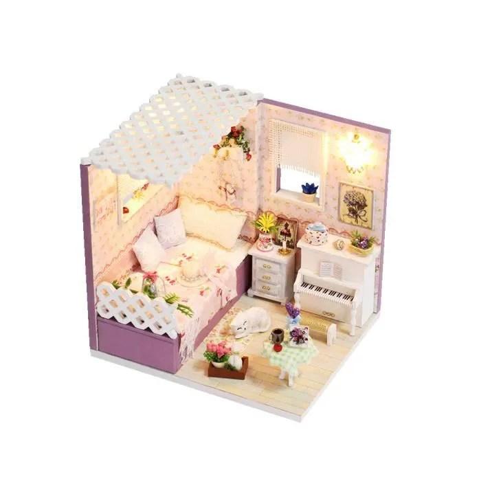 miniature super mini taille maison de poupee modele kits meubles en bois jouets diy dollhouse fille chambre amour a budapest