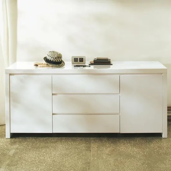 Valia Grand Buffet Laque Blanc Cdiscount Maison