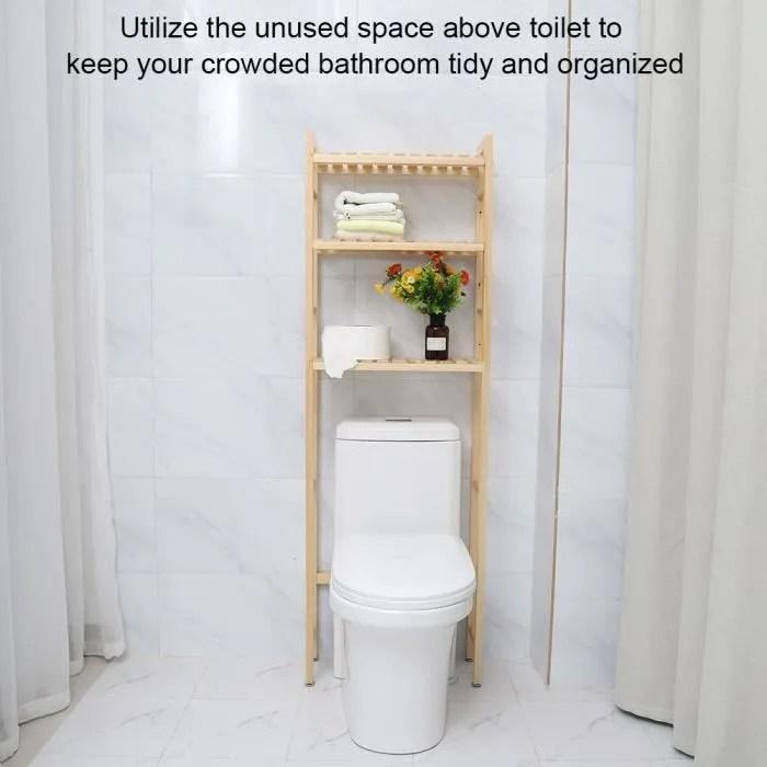 meuble etagere pour dessus wc salle de bains toilette en bois 3 niveaux