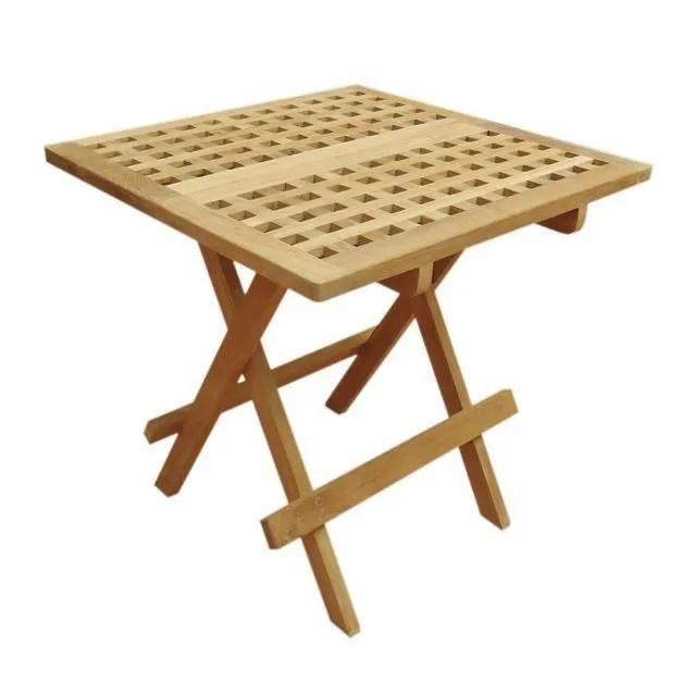 table basse pliante carree en teck 50x50 cm