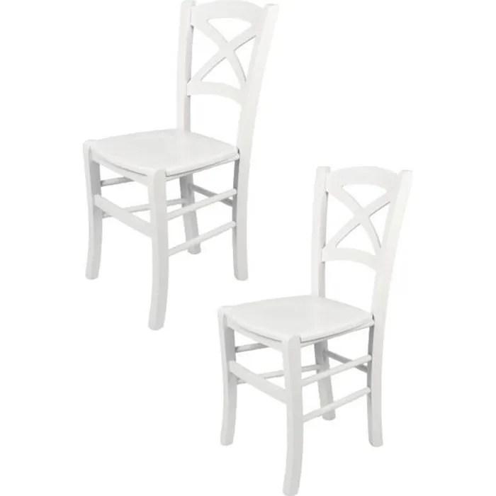 tommychairs set 2 chaises cuisine cross robuste structure en bois de hetre laque en couleur blanc et assise en bois