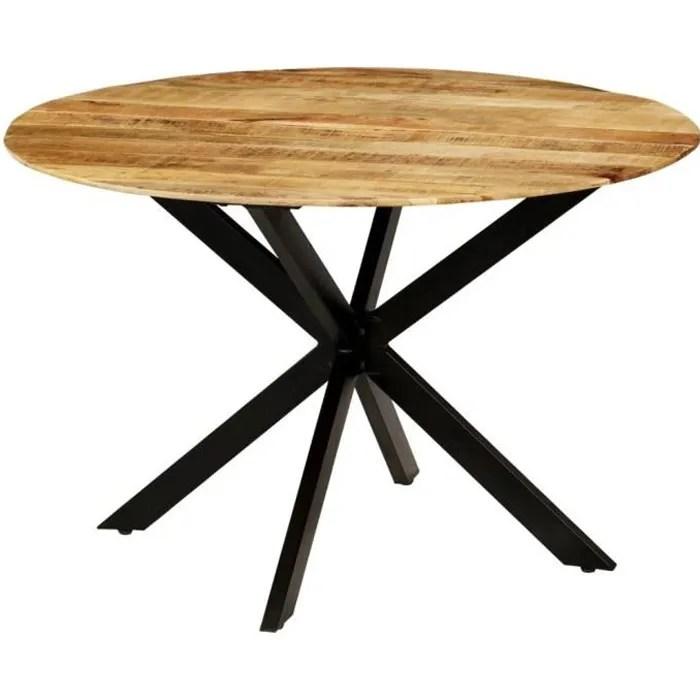 table a manger ronde en bois avec style industriel 120x77cm