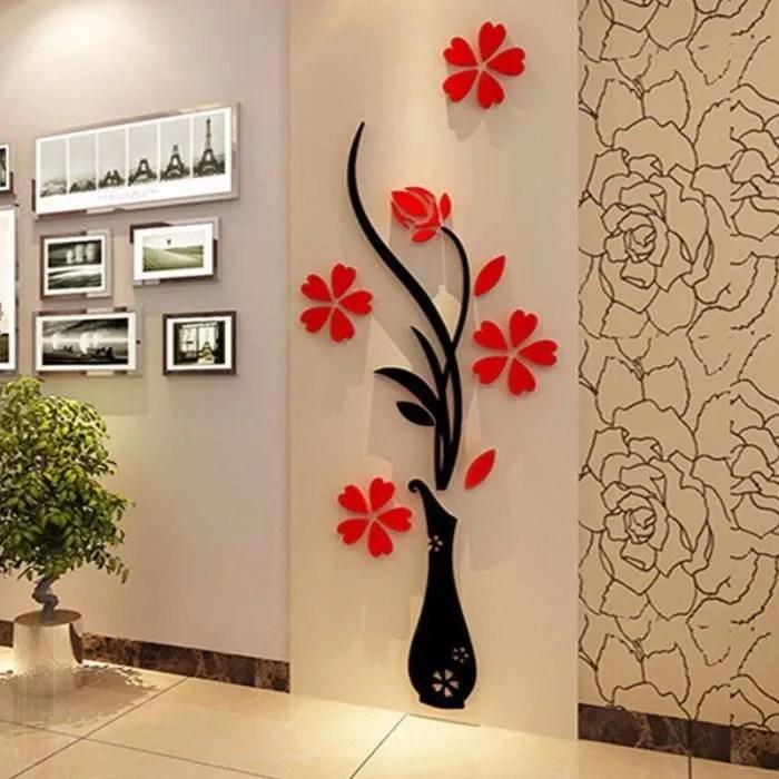 3d diy miroir fleur sticker autocollant mural decal art deco maison mur chambre