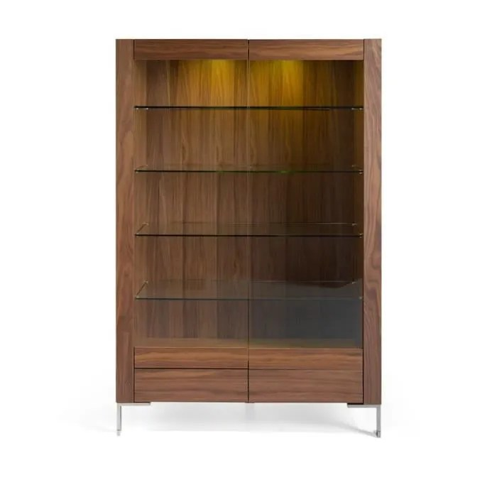 vitrine 2 portes bois verre metal a leds kaly l 120 x l 48 x h 180